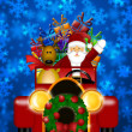 Santa y renos en coche roja vintage — Foto de Stock