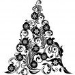 Christmas Tree with Leaf Swirls Design and Ornaments — Stock Photo