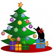 Christmas Tree with Presents Ornaments and Cat — ストック写真