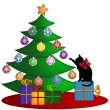 Christmas Tree with Presents Ornaments and Cat - Stock Photo