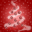 Christmas Tree with Leaf Swirls Sparkles and Ornaments Red — Stock Photo #7872142