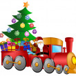 Santa in Train with Gifts and Christmas Tree — Stock Photo