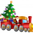 Royalty-Free Stock Photo: Santa in Train with Gifts and Christmas Tree