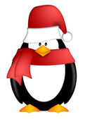 Penguin with Santa Hat and Red Scarf Clipart — Foto Stock