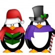 Penguins Singing Christmas Carol Cartoon Clipart — Stock Photo