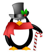 Penguin with Top Hat Red Scarf and Candy Cane Clipart — Stock Photo