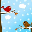 Christmas Red Cardinal Bird Pair Winter Scene — Stock Photo
