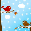 Stock Photo: Christmas Red Cardinal Bird Pair Winter Scene