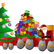 Santa Reindeer Snowman in Train with Gifts and Christmas Tree — 图库照片