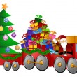 Santa Reindeer Snowman in Train with Gifts and Christmas Tree — Foto Stock