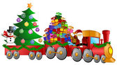 Santa Reindeer Snowman in Train with Gifts and Christmas Tree — Stock Photo