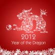 Chinese New Year Dragon with Snowflakes Pattern Red — Stock Photo