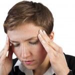 dolor de cabeza de mujer de negocios — Foto de Stock