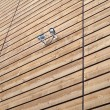 Two security camera on wooden wall — Stock Photo