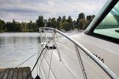 Moored motor yacht — Stock Photo