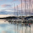 Harbor at sunset — Stockfoto