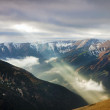 Top view of Tatra and sun ray — Stock Photo