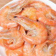 Close-up of prepared shrimps on plate — Stock Photo