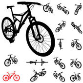 Bicycle silhouette set — Stock Photo