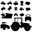 Stock Vector: Tractor silhouette set