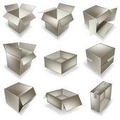 Cardboard box set — Stock Vector