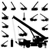 Mobile crane silhouette set — Stock Vector