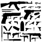 Weapon silhouette set — Stock Vector