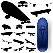 Skateboard silhouette set — Stock Vector