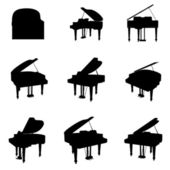 Vector piano silhouette set — Stock Vector