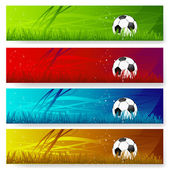 Four multi colored soccer banners — Stock Vector