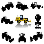 Construction machine silhouette — Stock Vector