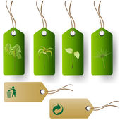 Green eco product tags — Stok Vektör