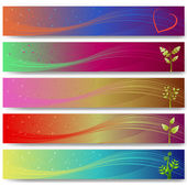 Abstract banner set with plants — Stock Vector