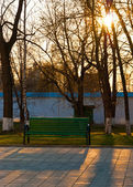 Bench in the russian monastery in the evening — Stock Photo