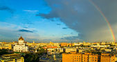Rainbow over Moscow skyline — Stock Photo
