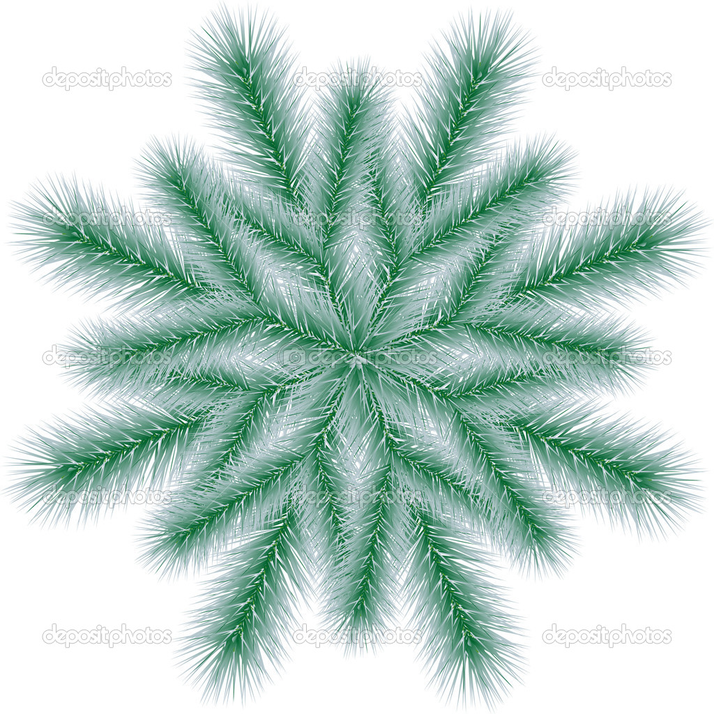 Christmas tree branch in the form of snowflakes — Stock Vector #7229635