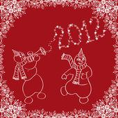 Happy dancing snowmen — Stock Vector