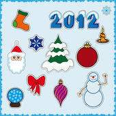 Collection of cute Christmas stickers — Stock Vector