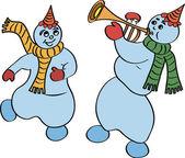 Dancing snowmen — Stock Vector
