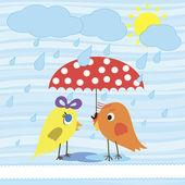 Cute birds under umbrella — Stock Vector