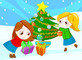 Friends at Christmas — Stock Photo