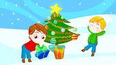 Přátelé na vánoce — Stock fotografie
