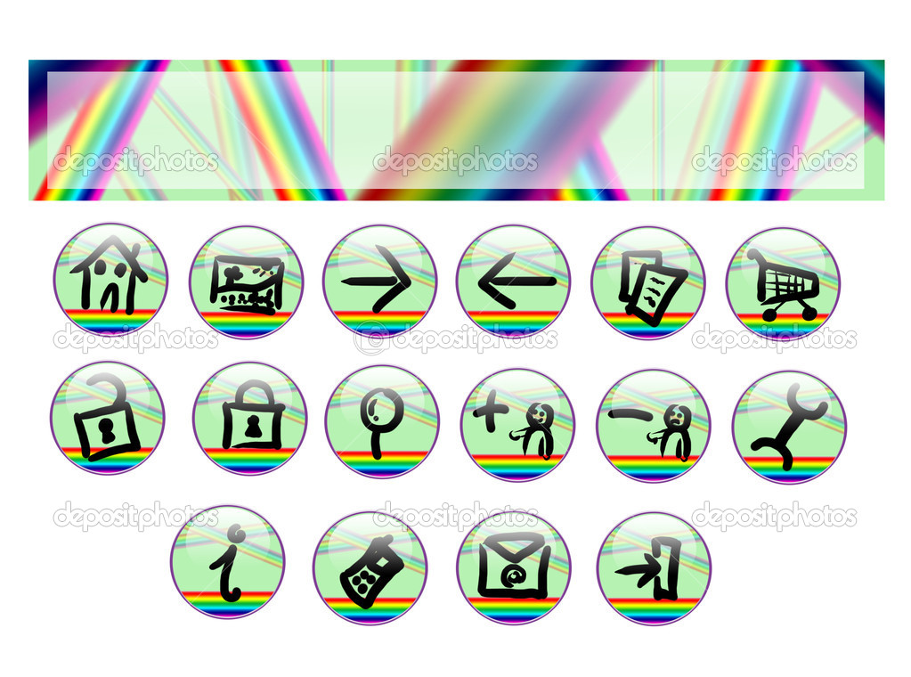 Raimbow web set with handmade symbol — Stock Photo #6887644