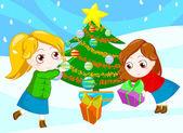 Amigos en navidad — Foto de Stock