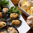 Mussels with Butter Sauce - Stock Photo