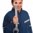 Worker with wrench - Stock Photo