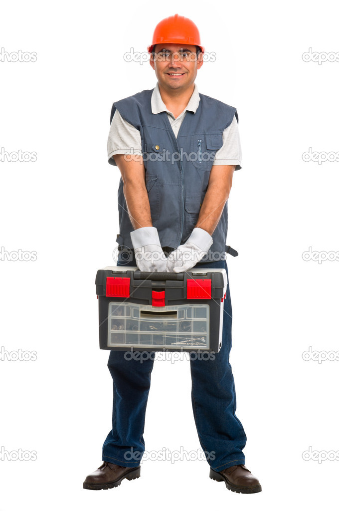 Full length portrait isolated manual worker carrying a toolbox — Stock Photo #6838644