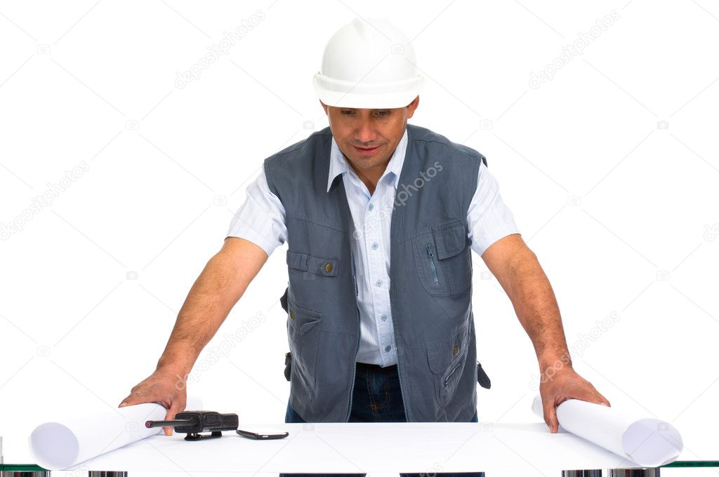 Engineer with white helmet and blueprints isolated in clear background — Stock Photo #6840049