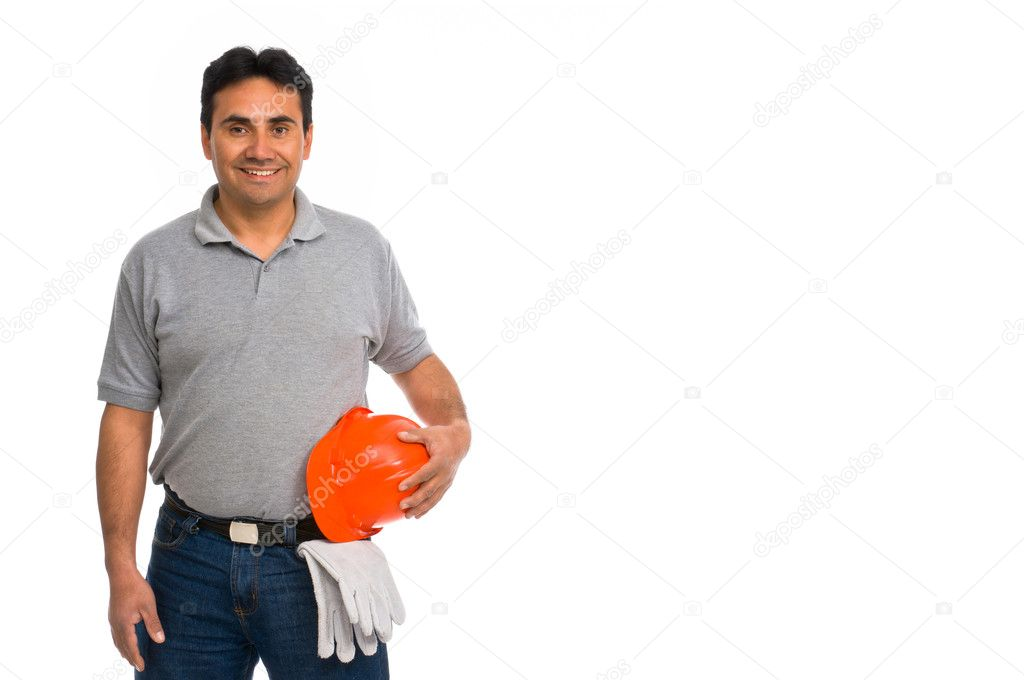 Smiling construction worker isolated on white background  Foto Stock #6840473