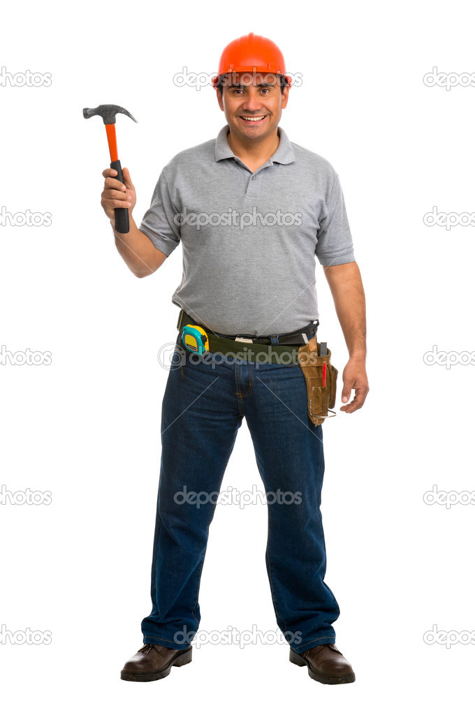 Full length portrait isolated worker using a hammer — Stock Photo #6843231